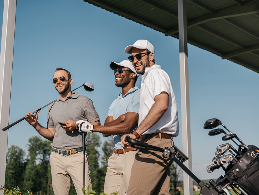 Three blind men playing golf